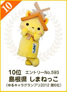 10位:島根県 しまねっこ